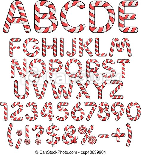 Coloreado, alfabeto, candies., aislado, vector, números, señales ...