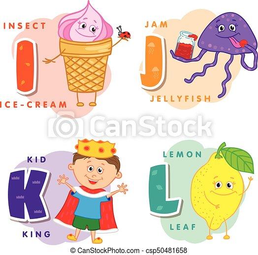Coloreado, alfabeto, k, j, l, carta, niños. J, medusa, coloreado ...