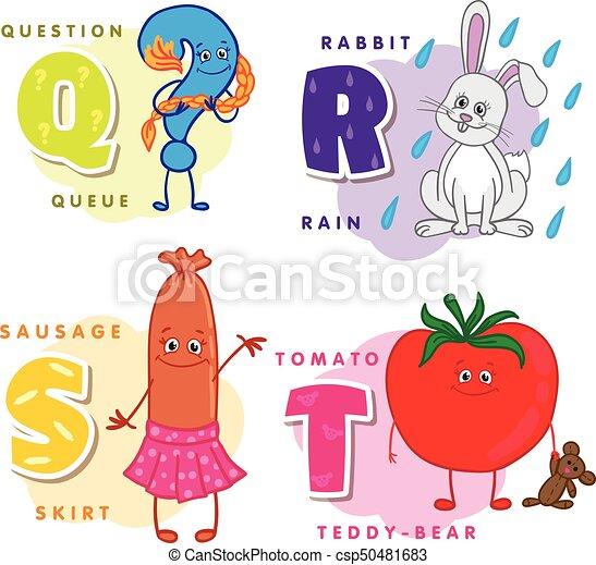 Coloreado, alfabeto, q, s, r, t, carta, niños. Embutido, conejo ...