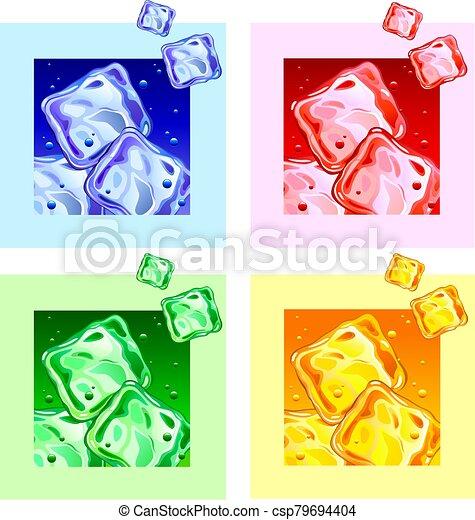 coloreado, cubitos de hielo - csp79694404