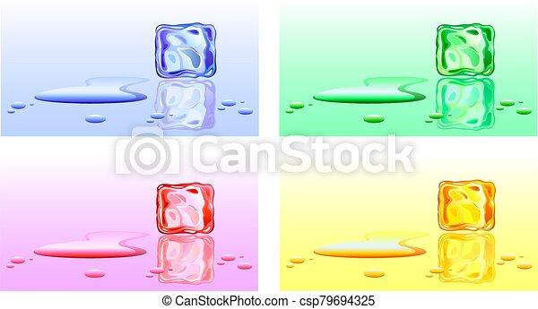 coloreado, cubitos de hielo - csp79694325