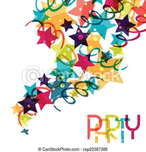 Antecedentes festivos con decoraciones de colores brillantes. - csp22387388