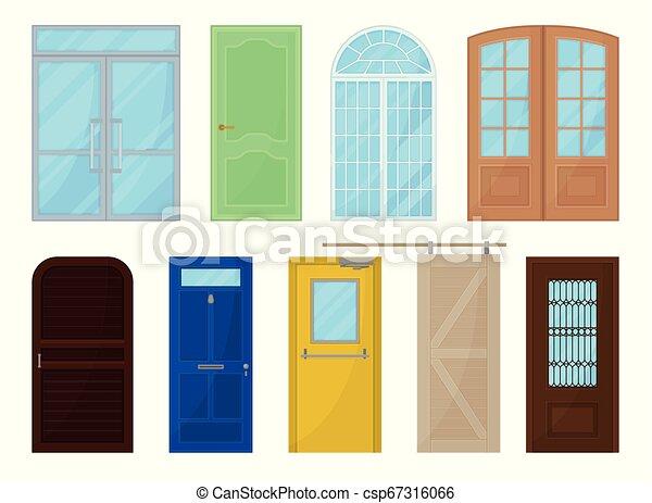 Puertas de colores en fondo blanco. Ilustración de vectores. - csp67316066