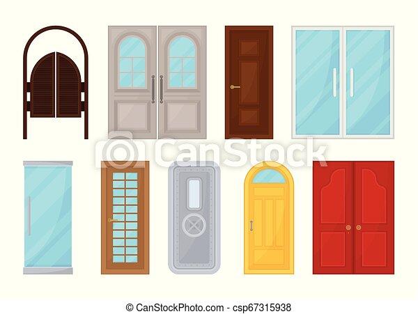 Puertas de colores en fondo blanco. Ilustración de vectores. - csp67315938