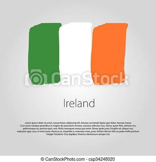 Coloreado, formato, líneas, mano, bandera, vector, irlanda, dibujado.