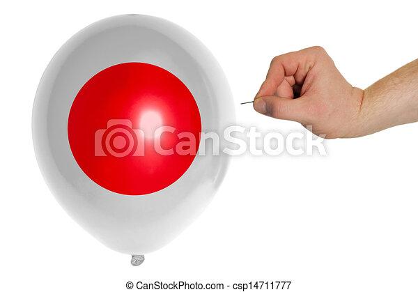 Coloreado, muy lleno, bandera nacional, japón, globo. Coloreado ...