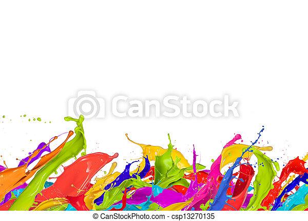 Salpicaduras de colores en forma abstracta, aisladas en fondo blanco - csp13270135