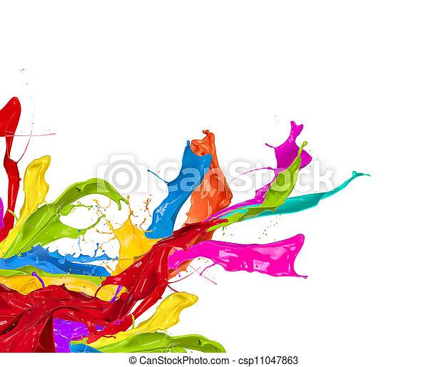 coloreado, resumen, aislado, forma, salpicaduras, plano de fondo, blanco - csp11047863