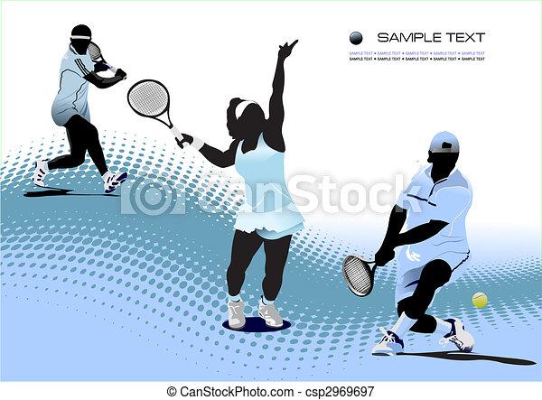 Jugador de tenis. Ilustración de vector de color para diseñadores - csp2969697