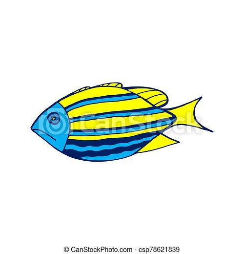 coloreado, vector, blanco, ilustración, pez, fondo., mar - csp78621839