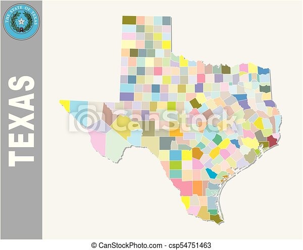 colored administrative and political vector map of us federal state texas