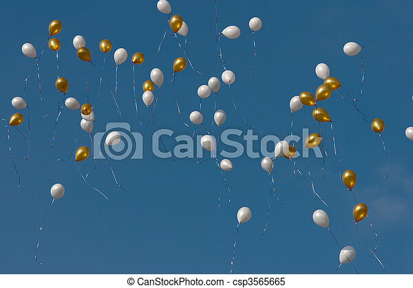 colored balloons in sky - csp3565665