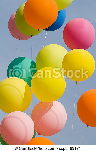 colored balloons on blue sky - csp3469171