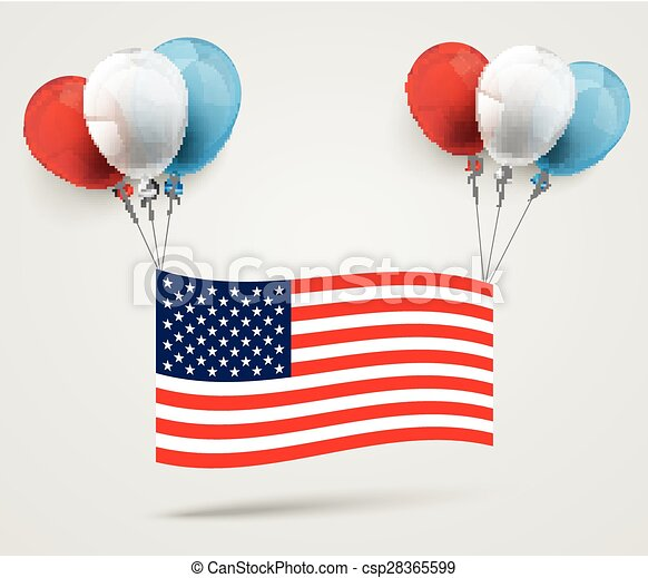 Colored Balloons US-Flag - csp28365599