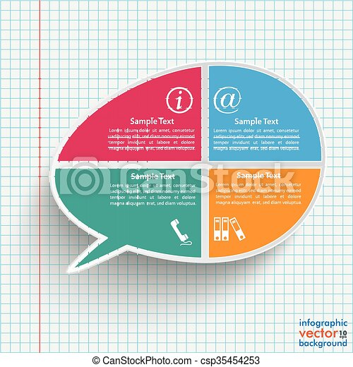 Colored Bevel Speech Bubble 4 Options Checked Paper - csp35454253