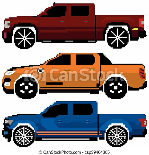Colored Cars Collection Vector Pixel Art