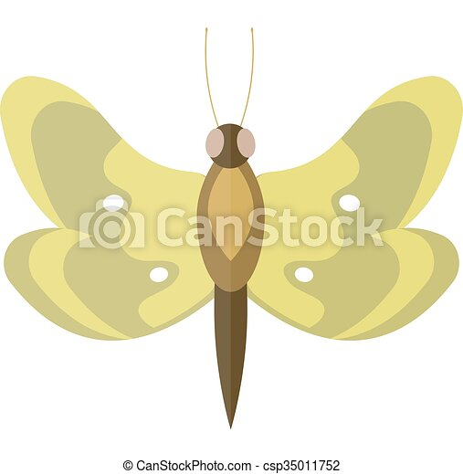 Colored cartoon butterfly isolated on white background. - csp35011752