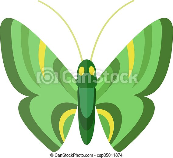 Colored cartoon butterfly isolated on white background. - csp35011874
