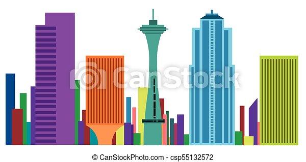 colored cityscape of seattle vector illustration design vectors rh canstockphoto com cityscape vector outline cityscape vector graphics