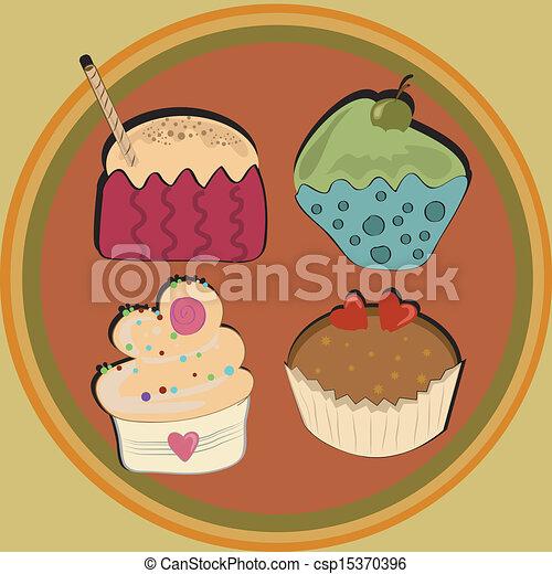 colored cupcakes - csp15370396