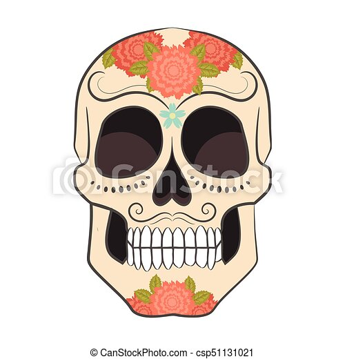 Colored Day of The Dead Sugar Skull with ornament. - csp51131021