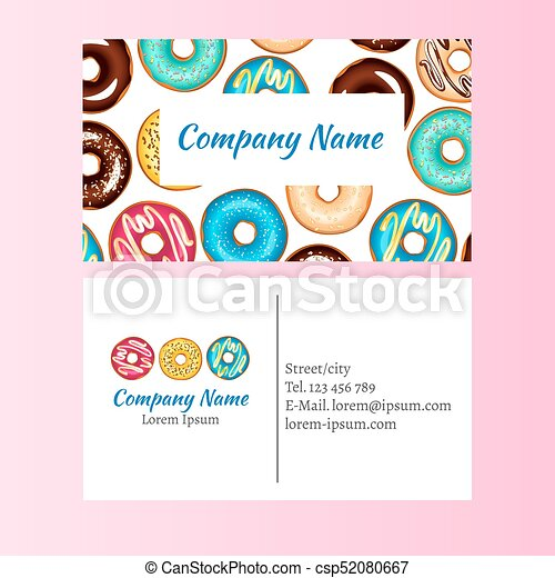 Colored donut glaze business card vector illustration clip art colored donut glaze business card csp52080667 reheart Image collections