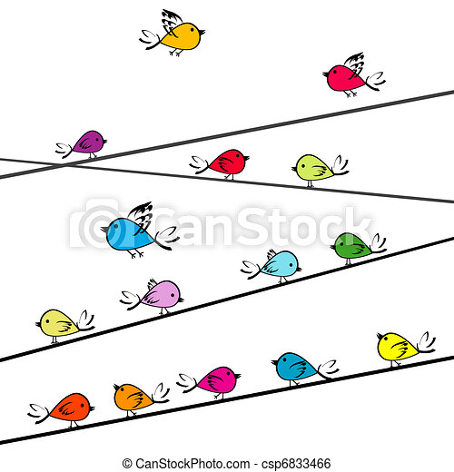 Colored doodle birds on strings - csp6833466