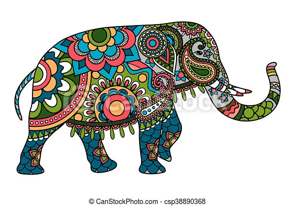 colored doodle indian elephant illistration isolated over white rh canstockphoto com decorated indian elephant clipart indian elephant face clipart