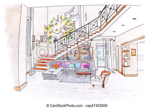 Colored Drawing Of Modern Room Design. Blueprint Of Living Room With  Furniture.   Csp47423659