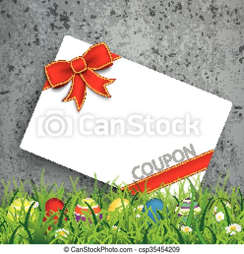 Colored Easter Eggs Grass Coupon Concrete - csp35454209