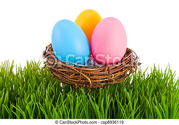 Colored Easter eggs in a nest. - csp8936119