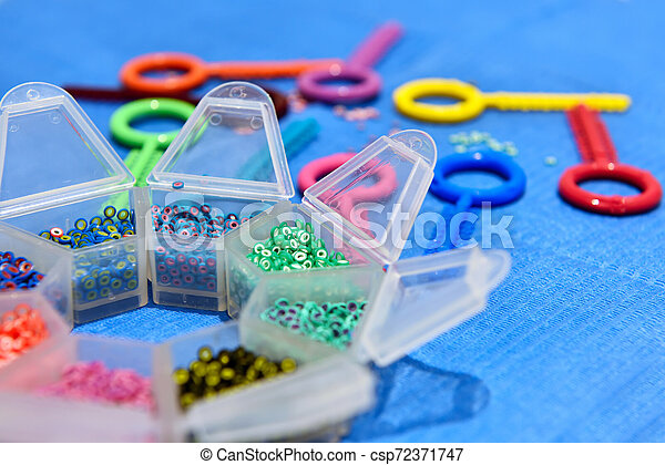 Colored Elastic Rubber Bands For Teeth Metal Braces Close Up