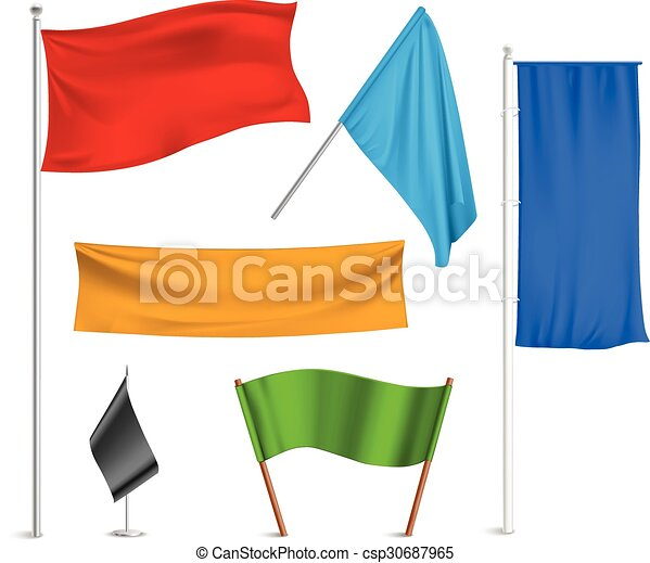 colored flags banners icons composition various colors flags and