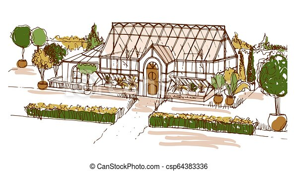 Colored freehand drawing of glasshouse or building surrounded by bushes and trees growing in pots. Sketch of facade of glass greenhouse or orangery. Hand drawn vector illustration in vintage style. - csp64383336