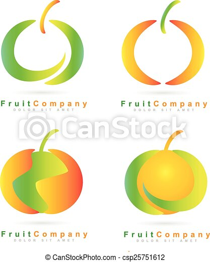 Colored fruit logo set - csp25751612