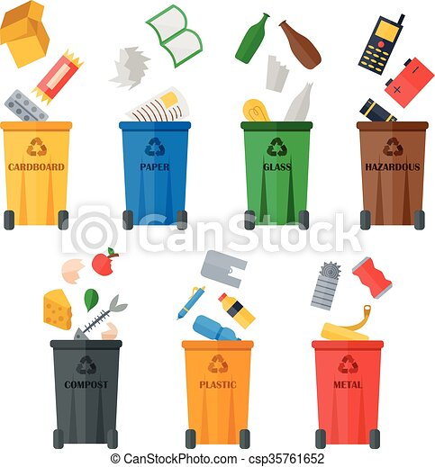 Colored garbage cans with waste types. - csp35761652