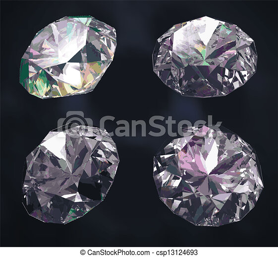 Colored gems isolated on dark blue  - csp13124693