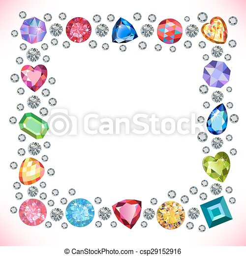 Colored gems square shape frame isolated on light... vector clip art ...