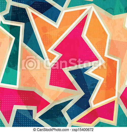 colored geometric seamless pattern with grunge effect - csp15400672