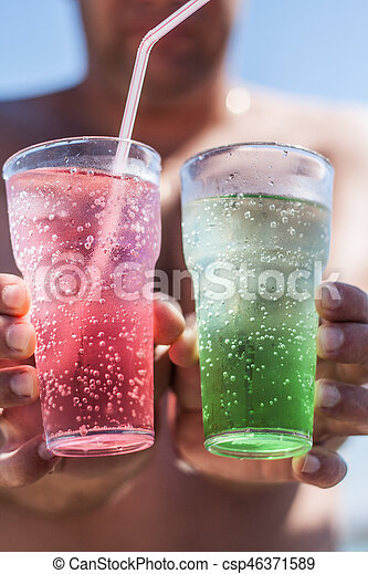 colored glass ice shake hands - csp46371589