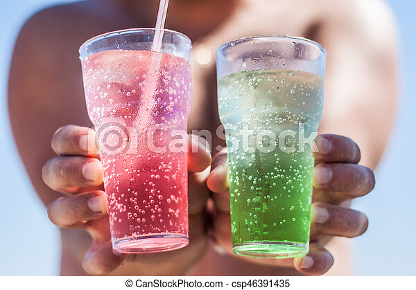 colored glass ice shake hands - csp46391435