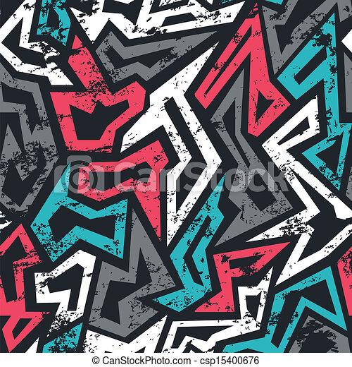 colored graffiti seamless pattern with grunge effect - csp15400676