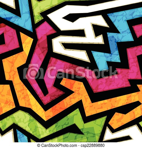 colored graffiti seamless texture with grunge effect - csp22889880