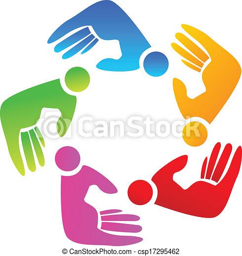 Colored hands teamwork logo - csp17295462