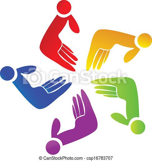 Colored hands teamwork logo - csp16783707
