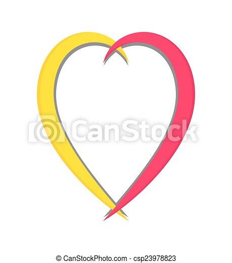Colored heart frame. Colorful comic love heart vector shape design.