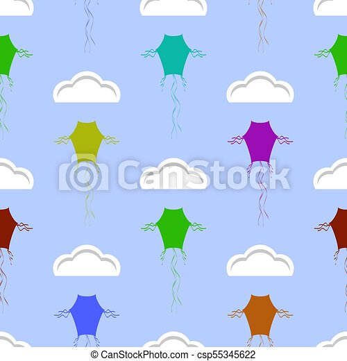Colored Kites Flying in Blue Sky with Sun and Clouds. Freedom Concept. Toy for Children - csp55345622