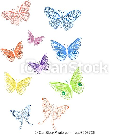 colored lace butterfly - csp3903736