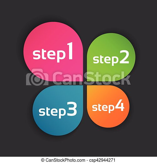 Colored leaf clover with four steps, vector symbol for your infographic and documents - csp42944271