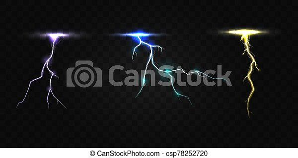 Colored Lightning Bolt Vector Set On Transparent Background Electric Discharges Thunderbolt Glowing Realistic Light Effects
